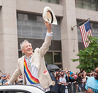 Grand Marshal Sir Ian McKellen in the annual Lesbian, Gay, Bisexual and Transgender Pride Parade on Fifth Avenue in New York on Sunday, June 28, 2015. (© Richard B. Levine)
