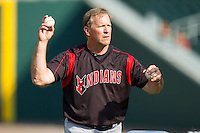 Indianapolis Indians pitching coach Tom Filer (46) throws batting practice prior to the game against the Charlotte Knights at BB&T Ballpark on May 23, 2014 in Charlotte, North Carolina.  The Indians defeated the Knights 15-6.  (Brian Westerholt/Four Seam Images)