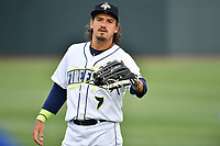 Designated hitter Jay Jabs (7) of the Columbia Fireflies warms up before a game against the Lakewood BlueClaws on Friday, May 5, 2017, at Spirit Communications Park in Columbia, South Carolina. Lakewood won, 12-2. (Tom Priddy/Four Seam Images)