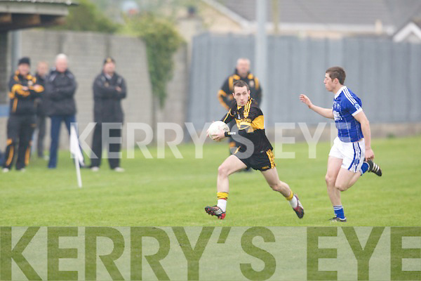 Dr Crokes Keith O'Leary gets passed Kerin O'Rahillys Kieran O'Mahoney in the Credit Union County league in Tralee on Friday...