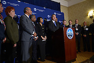 Washington, DC - January 22, 2014: Mesa, Arizona Mayor Scott Smith, President of the U.S. Conference of Mayors (USCM), holds a news conference with other mayors at the beginning of the USCM 82nd Winter Meeting at the Capitol Hilton hotel in the District of Columbia. (Photo by Don Baxter/Media Images International)
