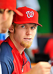 8 September 2011: Washington Nationals pitcher Stephen Strasburg chats in the dugout during a game against the Los Angeles Dodgers at Nationals Park in Washington, DC. The Dodgers defeated the Nationals 7-4 to take the third game of their 4-game series. Mandatory Credit: Ed Wolfstein Photo