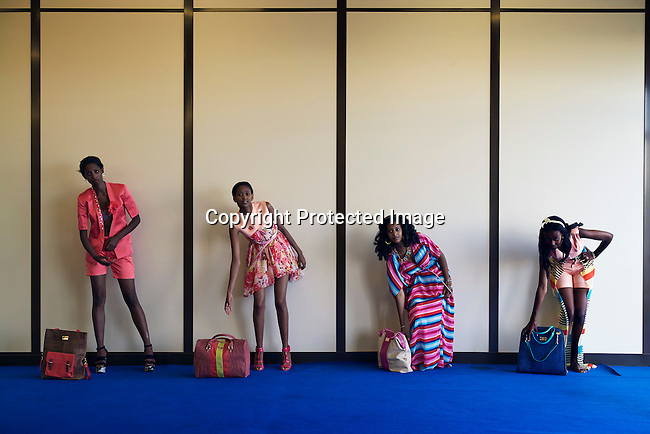 ADDIS ABABA, ETHIOPIA – OCTOBER 21: Models wear creations by the Kenyan designer Arnold Muriithi during a fitting at HUB of Africa Fashion Week, Addis Ababa, Ethiopia on October 21, 2015. (Photo by: Per-Anders Pettersson)