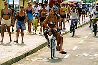 People on bicycles, Ipanema Beach, Rio de Janeiro, Brazil