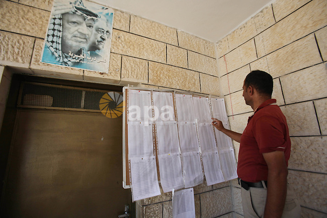 A Palestinian man looks for his name on the registered voters' list at Voter registration centers in the West Bank city of Nablus on July 24, 2016. The Palestinian Central Elections Commission (CEO) announced Saturday that voter registration centers would be open from Saturday until Wednesday in all local and municipal councils across the occupied West Bank and Gaza Strip in preparations for the upcoming local elections in October. Photo by Nedal Eshtayah