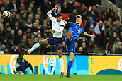 27th March 2018, Wembley Stadium, London, England; International Football Friendly, England versus Italy; Daniele Rugani of Italy battles to win a header against Marcus Rashford of England