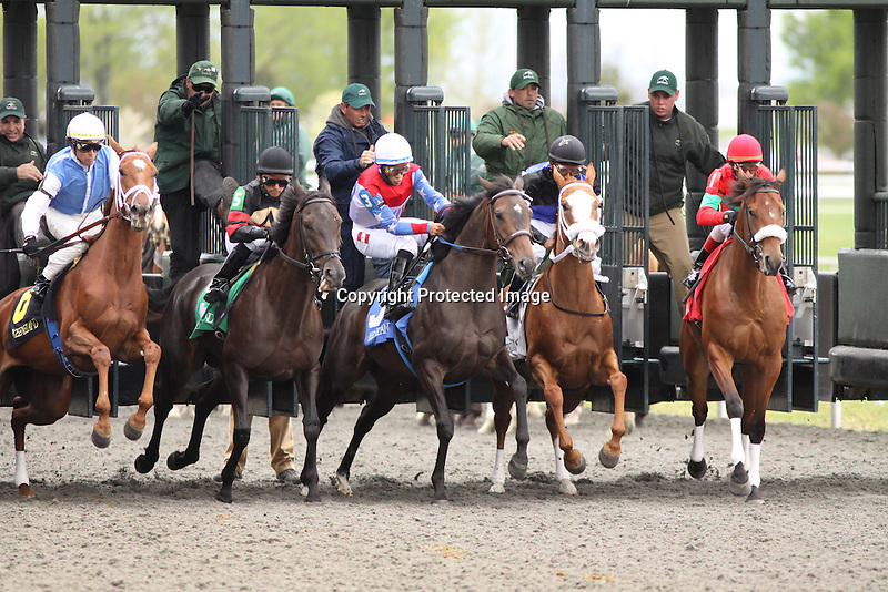 Eventual winner, Lady Aspen with Alan Garcia up breaks from the 3 hole in the 2nd race at Keeneland Race Course. 04.16.2011