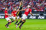 Solna 2013-08-06 Football Friendly Game , AIK - Manchester United FC :  <br /> AIK 4 Nils-Eric Johansson i en nickduell med Manchester United 15 Nemanja Vidic <br /> (Foto: Kenta J&ouml;nsson) Nyckelord:
