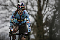 Wout Van Aert (BEL/Crelan Charles) leading the race.<br /> <br /> Men Elite Race<br /> UCI CX Worlds 2018<br /> Valkenburg - The Netherlands