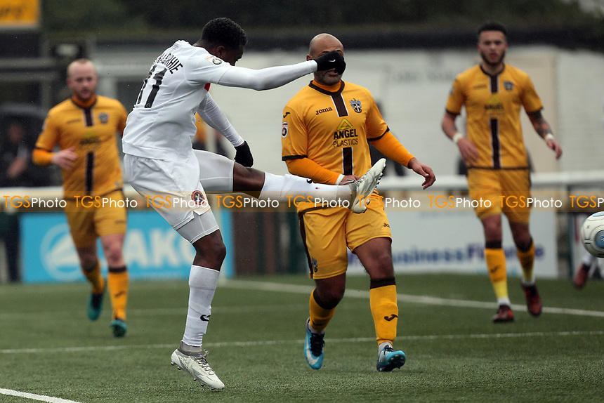 Fejiri Okenabirhie of Dagenham scores the opening  Daggers goal during Sutton United  vs Dagenham & Redbridge, Vanarama National League Football at the Borough Sports Ground on 20th January 2018