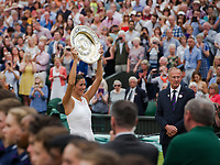 Garbine Muguruza (14) of Spain celebrates with the Venus Rosewater Dish after her victory over Venus Williams of United States in their Ladies' Singles Final today - Muguruza def Williams 7-5, 6-0<br /> <br /> Photographer Ashley Western/CameraSport<br /> <br /> Wimbledon Lawn Tennis Championships - Day 12 - Saturday 15th July 2017 -  All England Lawn Tennis and Croquet Club - Wimbledon - London - England<br /> <br /> World Copyright &not;&copy; 2017 CameraSport. All rights reserved. 43 Linden Ave. Countesthorpe. Leicester. England. LE8 5PG - Tel: +44 (0) 116 277 4147 - admin@camerasport.com - www.camerasport.com