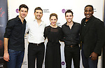 """Drew Gehling, Tony Yazbeck, Laura Osnes, Corey Cott and Norm Lewis attend the Meet the Cast of The MCP Production of """"The Scarlet Pimpernel"""" at Pearl Rehearsal studio Theatre on February 14, 2019 in New York City."""