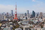 March 17, 2011, Tokyo, Japan - The damaged tip of Tokyo Tower is visible from the veranda of the World Trade Center Building in Tokyo on a clear day. The veranda was empty as Tokyoites are leaving Tokyo in the aftermath of the Tohoku-Kanto Natural Disaster and due to the ongoing threat of radiation exposure from the Fukushima Daiichi nuclear power plant. (Photo by Yusuke Nakanishi/AFLO)