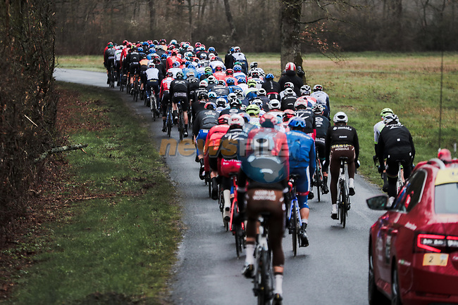 The peloton during Stage 3 of the 78th edition of Paris-Nice 2020, running 212.5km from Chalette-sur-Loing to La Chatre, France. 10th March 2020.<br /> Picture: ASO/Fabien Boukla | Cyclefile<br /> All photos usage must carry mandatory copyright credit (© Cyclefile | ASO/Fabien Boukla)