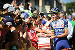 Yoann Offredo (FRA) Wanty-Groupe Gobert with fans at sign on before the start of Stage 16 of the 2018 Tour de France running 218km from Carcassonne to Bagneres-de-Luchon, France. 24th July 2018. <br /> Picture: ASO/Pauline Ballet | Cyclefile<br /> All photos usage must carry mandatory copyright credit (© Cyclefile | ASO/Pauline Ballet)