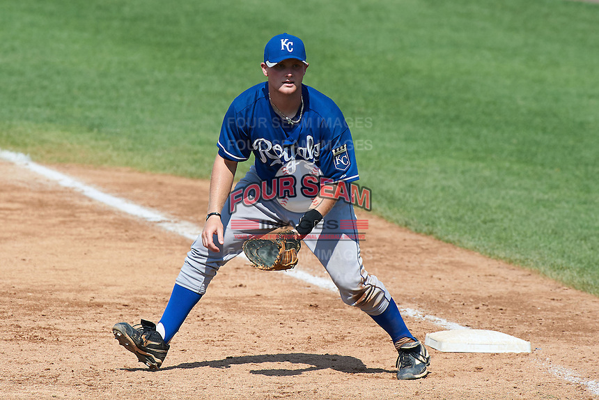 Stephen Logan #36 of Muscle Shoals High School in Muscle Shoals, Alabama playing for the Kansas City Royals scout team during the East Coast Pro Showcase at Alliance Bank Stadium on August 3, 2012 in Syracuse, New York.  (Mike Janes/Four Seam Images)