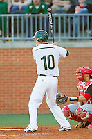 Justin Seager (10 of the Charlotte 49ers at bat against the Delaware State Hornets at Robert and Mariam Hayes Stadium on February 15, 2013 in Charlotte, North Carolina.  The 49ers defeated the Hornets 13-7.  (Brian Westerholt/Four Seam Images)