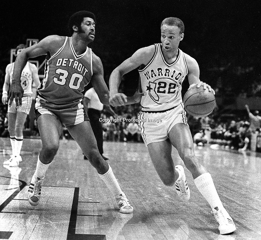 Golden State Warrior Sonny Parker with Detroit Piston M.L Carr.   (1977 photo/Ron Riesterer)