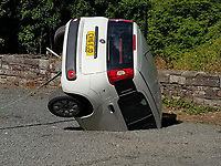 2018 08 18 Car falls into sinkhole at Craig Y Nos castle carpark, Wales, UK