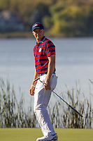 Jordan Spieth (Team USA) on the 10th green during Saturday afternoon Fourball at the Ryder Cup, Hazeltine National Golf Club, Chaska, Minnesota, USA.  01/10/2016<br /> Picture: Golffile | Fran Caffrey<br /> <br /> <br /> All photo usage must carry mandatory copyright credit (&copy; Golffile | Fran Caffrey)