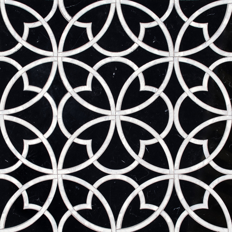 Lombard, a stone waterjet mosaic, shown in polished Nero Marquina and Shell, is part of the Bright Young Things™ collection by New Ravenna.