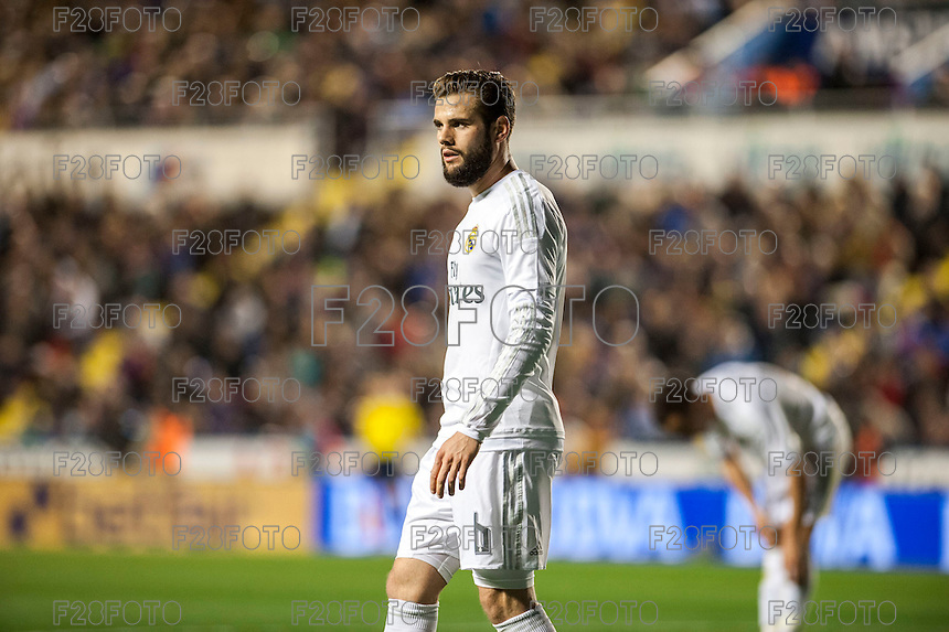 VALENCIA, SPAIN - MARCH 2: Nacho during BBVA League match between VLevante U.D. and R. Madrid at Ciudad de Valencia Stadium on March 2, 2015 in Valencia, Spain