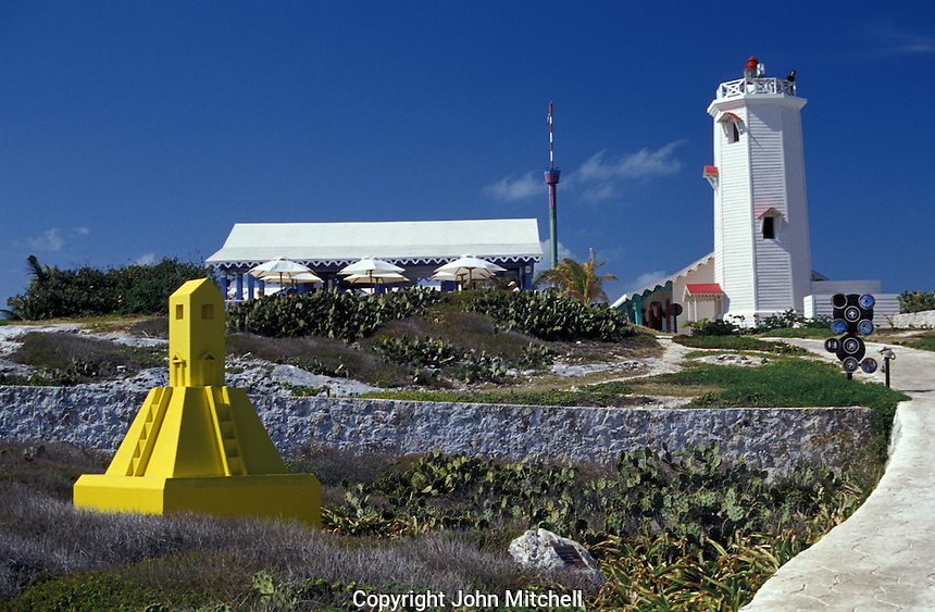 Restored lighthouse and restaurant at Punta Sur in Parque El Garrafon on Isla Mujeres, Quintana Roo, Mexico.