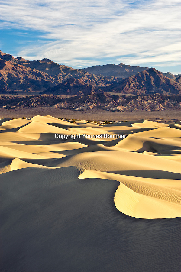 Mesquite dunes in the early morning overlooking the panamint mountain range in Southern California's death valley