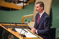 UN HEADQUARTERS, NEW YORK, NY, UNITED STATES - 2016/09/20: Spanish King Felipe IV delivers his remarks on the first day of the UN General Assembly's General Debate, IN General Assembly Hall at UN Headquarters in New York. VIEWpress/Maite H. Mateo