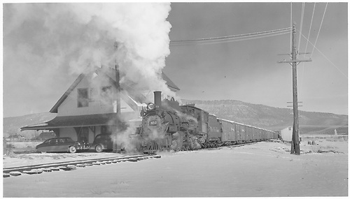 K-27 #452 with 18 freigth cars and caboose 0400.<br /> RGS  Ridgway, CO  Taken by Richardson, Robert W.