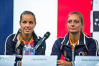 Arena Loire,  Tr&eacute;laz&eacute;,  France, 14 April, 2016, Semifinal FedCup, France-Netherlands, Draw,  Ltr: Arantxa Rus and Cindy Burger<br /> Photo: Henk Koster/Tennisimages