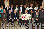 Award winners pictured at the Kerry Supporters Club20th Annual Social and Awards night held in The Ballygarry House Hotel on Saturday night. Seated l/r Jimmy Savage, Con O'Sullivan, Jerome Conway, Donal O'Leary, Jack O'Connor, Paul Galvin and Kit Ryan. Standing l/r Ashley Prendeville, Martin Leane, John O'Connor, Brian Leen, John King, Gerard McCarthy, Tom Kelly, Joe Walsh, Maeve Prendeville and Leo Griffin................................................................................................................................................................................................................................................................................. ............