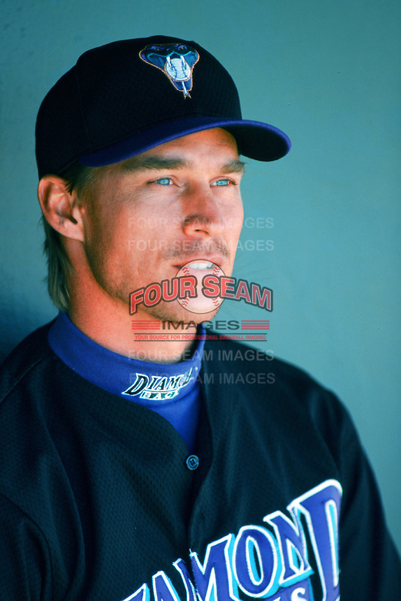 Todd Stottlemyre of the Arizona Diamondbacks in the dugout before a 1999 Major League Baseball season game against the Anaheim Angels at Angel Stadium in Anaheim, California. (Larry Goren/Four Seam Images)