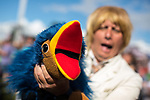 © Joel Goodman - 07973 332324. 05/08/2017 . Macclesfield , UK . A man in costume as Rod Hull , with Emu, at the Rewind Festival , celebrating 1980s music and culture , at Capesthorne Hall in Siddington . Photo credit : Joel Goodman
