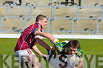 David Moran Kerry is tackled by Kevin Brady Galwey during their Allianz National Football League clash in Killarney last Sunday