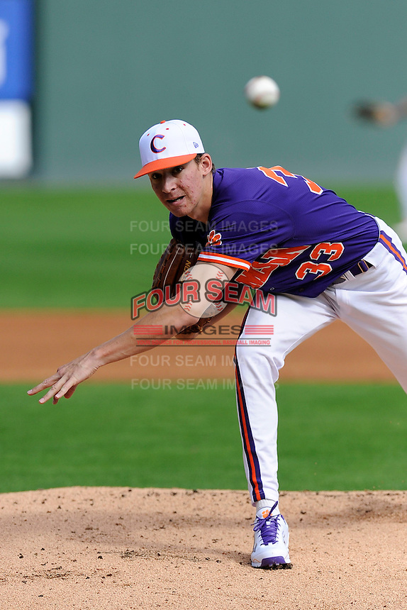 Pitcher Zach Erwin (33) of the Clemson Tigers in a fall Orange & Purple intrasquad scrimmage on November 2, 2013, at Fluor Field at the West End in Greenville, South Carolina. Orange won 7-1.(Tom Priddy/Four Seam Images)