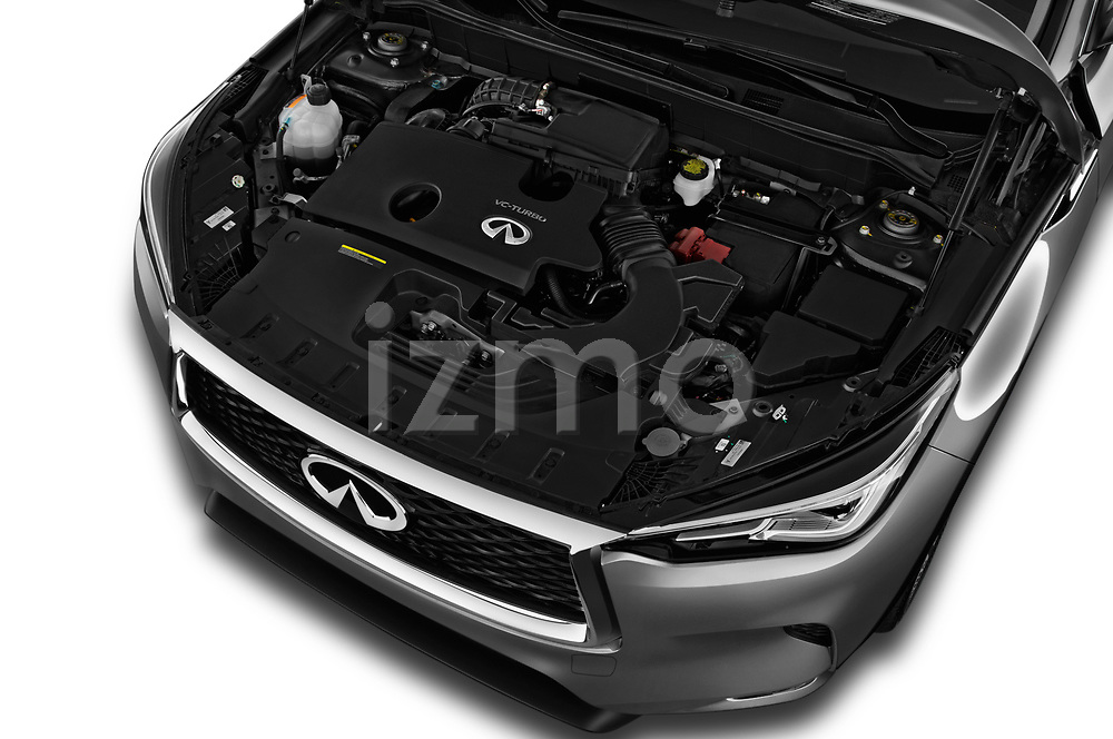 Car stock 2019 Infiniti QX50 LUXE AWD 5 Door SUV engine high angle detail view