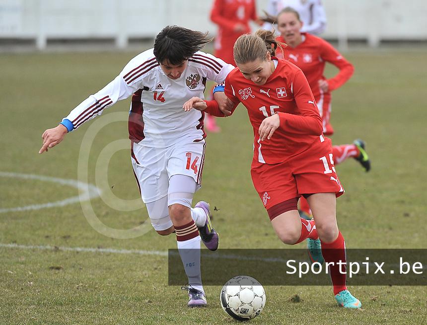 Switzerland U19 - Russia U19 : Switzerland number 15.Riana Fischer and .Nasiba Gasanova (left).foto DAVID CATRY / Nikonpro.be