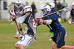 GER - Hannover, Germany, May 30: During the Men Lacrosse Playoffs 2015 match between HLC Rot-Weiss Muenchen (blue) and KKHT Schwarz-Weiss Koeln (weiss) on May 30, 2015 at Deutscher Hockey-Club Hannover e.V. in Hannover, Germany. Final score 5:6. (Photo by Dirk Markgraf / www.265-images.com) *** Local caption *** Philipp Broz #20 of KKHT Schwarz-Weiss Koeln, Matthew Laustrup #1 of HLC Rot-Weiss Muenchen