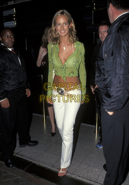LADY VICTORIA HERVEY.24 May 2001.full length green sheer shirt midriff tummy white trousers.ref:10871.www.capitalpictures.com.sales@capitalpictures.com.©Capital Pictures
