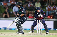 New Zealand's Ross Taylor is stumped by England's Jos Buttler. New Zealand Blackcaps v England. One Day International Cricket. Seddon Park, Hamilton, New Zealand on Sunday 25 February 2018.<br /> <br /> Copyright photo: &copy; Bruce Lim / www.photosport.nz