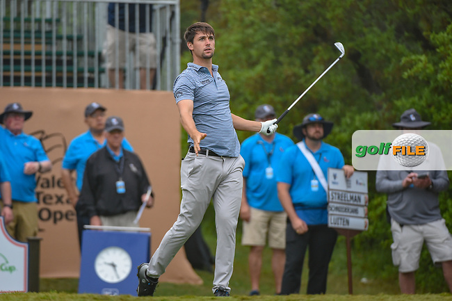 Ollie Schniederjans (USA) watches his tee shot on 1 during day 3 of the Valero Texas Open, at the TPC San Antonio Oaks Course, San Antonio, Texas, USA. 4/6/2019.<br /> Picture: Golffile | Ken Murray<br /> <br /> <br /> All photo usage must carry mandatory copyright credit (© Golffile | Ken Murray)