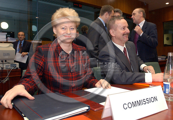 Brussels-Belgium - November 25, 2004---European Ministers for Finance meet with the European Commission and Members of the European Parliament on 'Budget' within the cycle of the ECOFIN-Council, at the 'Justus Lipsius', seat of the Council of the European Union in Brussels; here, the members of the European Commission, Dalia GRYBAUSKAITE (Grybauskaité) (le) from Lithuania, in charge of Financial Programming and Budget, and Siim KALLAS (ri) from Estonia, Vice-President of the EC and in charge of Administrative Affairs, Audit and Anti-fraud, at the beginning of the meeting---Photo: Horst Wagner/eup-images