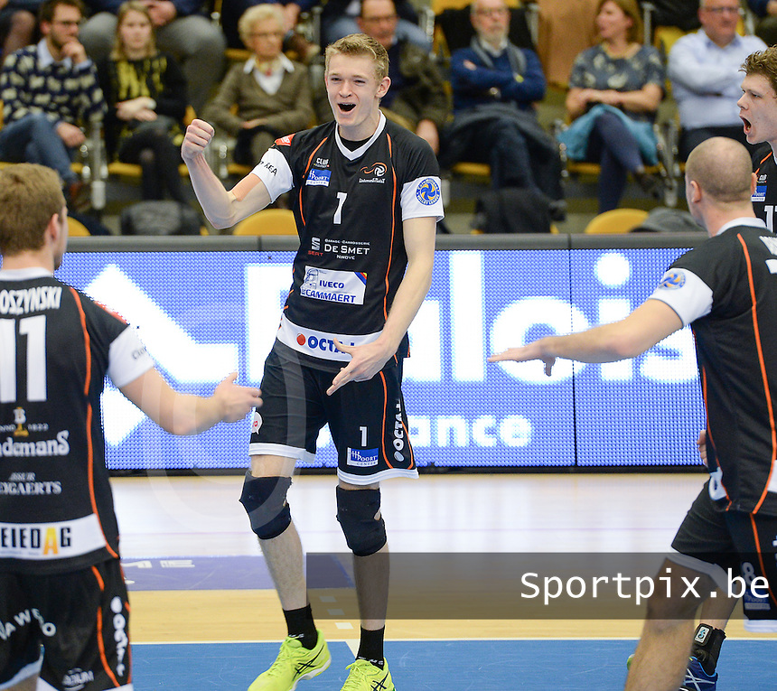 20161228 - ROESELARE ,  BELGIUM : Aalst's Lou Kindt pictured during the second semi final in the Belgian Volley Cup between Knack Volley Roeselare and Lindemans Aalst in Roeselare , Belgium , Wednesday 28 th December 2016 . PHOTO SPORTPIX.BE | DAVID CATRY