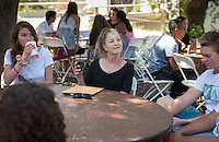 Irene Girton, Professor, Music. Incoming first years meet with their faculty advisors during the Major Information Sessions & Advising part of Orientation in the Academic Quad, Aug. 24, 2015.<br /> (Photo by Marc Campos, Occidental College Photographer)