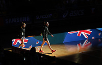 14.10.2017 Silver Ferns Katrina Grant leads out the team during the Constellation Cup netball match between the Silver Ferns and Australia at QudosBank Arena in Sydney. Mandatory Photo Credit ©Michael Bradley.