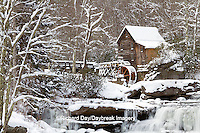 67395-04304 Glade Creek Grist Mill in winter, Babcock State Park, WV