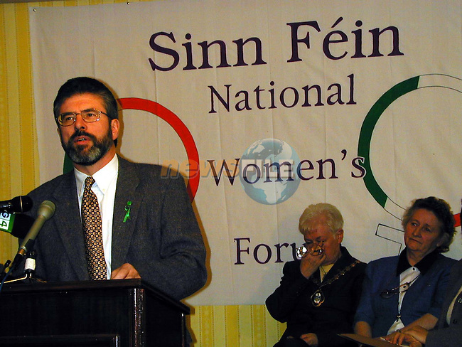 Gerry Adams President of Sinn Fein addressing the Sinn Fein National Womans Conference which Was Held in the Regency Hotel in Dublin.Pic Fran Caffrey Newsfile.Please By-line