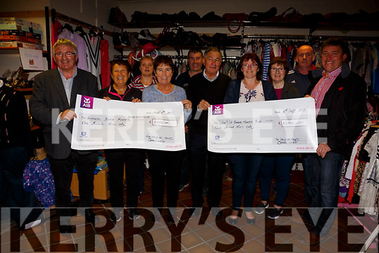 The Helping Hand Charity Shop in Cahersiveen made 2 cheque presentations on Monday evening one to The Sean Ó Sé Memorial Tractor Run and the other to The National Brain Appeal(Dan Tim Cycle), both for €1,000 pictured here l-r; were Christy O'Connell(Treasurer), Teresa Cronin, Marie Flood, Eileen O'Driscoll, Brendan Murphy, Jackie O'Sullivan(Chairman), Evelyn Goggin, Eileen O'Shea, Brendan O'Sullivan & Cormac Lynch.