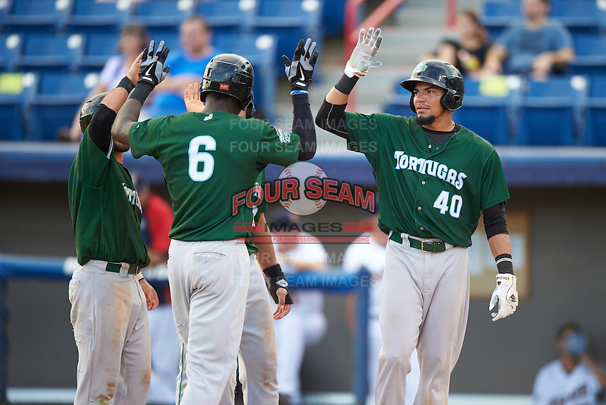 Daytona Tortugas Aristides Aquino (6) high fives teammates Blake Trahan (left), Avain Rachal (hidden), and Jonathan Reynoso (40) after hitting a grand slam home run during a game against the Brevard County Manatees on August 14, 2016 at Space Coast Stadium in Viera, Florida.  Daytona defeated Brevard County 9-3.  (Mike Janes/Four Seam Images)